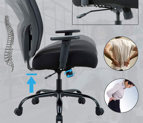 Big and Tall Office Chair Mesh Chair Computer Ergonomic Chair Review
