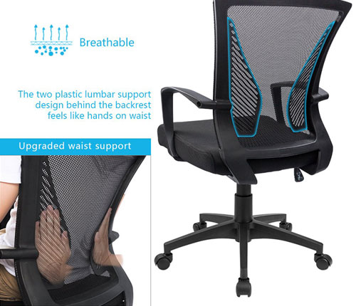 Furmax Office Mid Back Swivel Lumbar Support Desk Chair Review